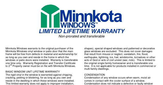 Minnkota Windows Warranty